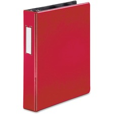 "Business Source 1.5"" D-Ring Binder - 1 1/2"" Binder Capacity - 375 Sheet Capacity - Slant D-Ring Fastener(s) - Internal Pocket(s) - Red - Lay Flat, Label Holder - 1 Each"