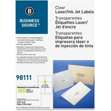 """Business Source Clear Address Labels - 3 19/64"""" x 4"""" Length - Permanent Adhesive - Rectangle - Laser, Inkjet - Clear - 6 / Sheet - 300 / Box"""