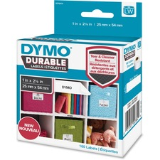 "Dymo LabelWriter Labels - 1"" Width x 2 1/8"" Length - Permanent Adhesive - Thermal Transfer - White - Plastic, Polypropylene - 160 / Roll"