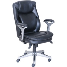 "Lorell Wellness by Design Executive Chair - 5-star Base - Black - Bonded Leather - 26.8"" Width x 30.5"" Depth x 44.3"" Height - 1 Each"