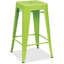 "Lorell Utility Stools - Powder Coated Frame - Lime - Metal - 16"" Width x 16"" Depth x 26"" Height - 2 / Carton"