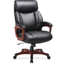 LLR 59494 Lorell Leather High-back Wood-look Exec Chair LLR59494