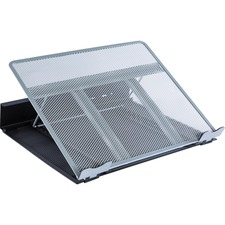 "Lorell Angled Laptop Stand - 3.50"" (88.90 mm) Height x 13"" (330.20 mm) Width x 11"" (279.40 mm) Depth - Steel - Silver, Black"