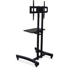 "Lorell Flat Panel TV Cart - 45.36 kg Capacity - 4 Casters - 2.50"" (63.50 mm) Caster Size - Steel - x 29.5"" Width x 28"" Depth x 64"" Height - Steel Frame - Black - 1 Each"