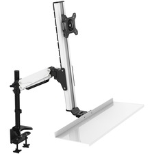 Lorell Grommet Mount for Monitor, Keyboard, Mouse - Black, Silver - Black, Silver