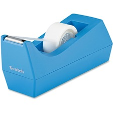 Scotch C38 Desk Tape Dispenser - Holds Total 1 Tape(s) - Refillable - Non-skid Base, Weighted Base - Plastic - Periwinkle Blue - 1 Each