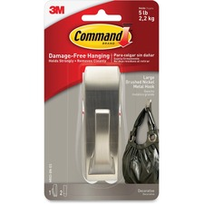 MMM MR03BNES 3M Command Strips 5 lb. Brushed Nickel Hook MMMMR03BNES