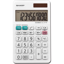 SHR EL377WB Sharp EL-377 10-Digit Handheld Calculator SHREL377WB