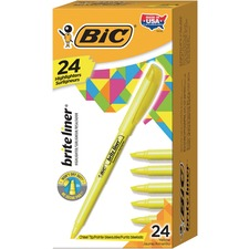BIC Brite Liner Highlighter - Broad, Fine Marker Point - Chisel Marker Point Style - Bright Fluorescent Water Based Ink - Yellow Barrel - 24 / Box