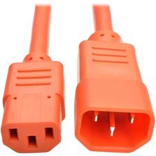 Tripp Lite 2ft Heavy Duty Power Extension Cord 15A 14 AWG C14 C13 Orange 2'