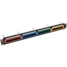 Tripp Lite 24-Port Cat5/Cat5e Patch Panel Color-Coded 110 RJ45 Ethernet 568B