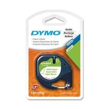 """Dymo LetraTag Tapes - 15/32"""" Width x 13 ft Length - White - 1 Each"""