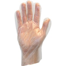 """Safety Zone Clear Powder Free Polyethylene Gloves - Large Size - Polyethylene - Clear - Die Cut, Heat Sealed Edge, Embossed Grip, Powder-free, Latex-free, Silicone-free, Recyclable - For Food - 100 / Box - 11.75"""" (298.45 mm) Glove Length"""