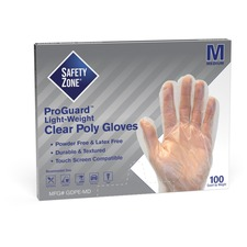 """Safety Zone Clear Powder Free Polyethylene Gloves - Medium Size - Polyethylene - Clear - Die Cut, Heat Sealed Edge, Embossed Grip, Powder-free, Latex-free, Silicone-free, Recyclable - For Food - 100 / Box - 11.75"""" (298.45 mm) Glove Length"""