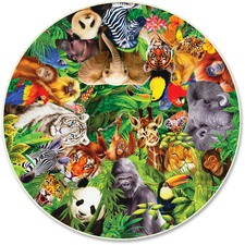 ABW373 - A Broader View Wild Animals 500-pc Round Puzzle