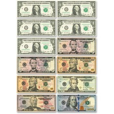 ASH 10066 Ashley Prod. US Dollar Bill Set Die-cut Magnets ASH10066
