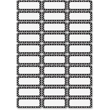 ASH 10080 Ashley Prod. Dry Erase B/W Dots Nameplate Magnets ASH10080