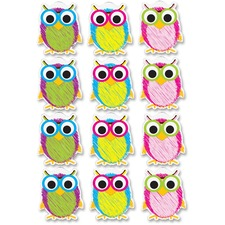 ASH 10088 Ashley Prod. Scribble Owls Design Dry-erase Magnet ASH10088