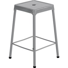 Safco Steel Counter Stool - Four-legged Base - Silver - Steel - 1 Each