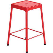 Safco Steel Counter Stool - Four-legged Base - Red - Steel - 1 Each