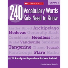 SHS 0545468655 Scholastic Res. Grade 5 Vocabulary 240 Words Book SHS0545468655