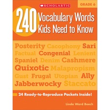 SHS 0545468663 Scholastic Res. Grade 6 Vocabulary 240 Words Book SHS0545468663