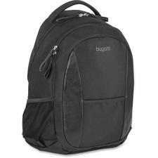 """bugatti Carrying Case (Backpack) for 15.6"""" Notebook - Black - Synthetic Leather Trim, Polyester Trim - Shoulder Strap"""