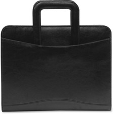 "bugatti Portfolio - 1 1/2"" Folder Capacity - Ring Fastener - Internal, Front Pocket(s) - Bonded Leather - Black - 1 Each"