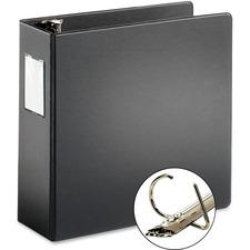 """Cardinal ExpressLoad Locking D-ring Binder - 3"""" Binder Capacity - D-Ring Fastener(s) - Internal Pocket(s) - Poly - Black - Locking Ring, Non-stick - 1 Each"""