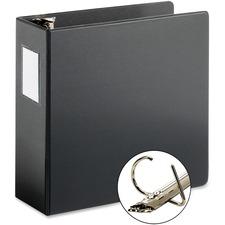 """Cardinal ExpressLoad Locking D-ring Binder - 4"""" Binder Capacity - D-Ring Fastener(s) - Internal Pocket(s) - Poly - Black - Locking Ring, Non-stick - 1 Each"""