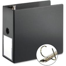 """Cardinal ExpressLoad Locking D-ring Binder - 5"""" Binder Capacity - D-Ring Fastener(s) - Internal Pocket(s) - Poly - Black - Locking Ring, Non-stick - 1 Each"""