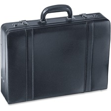 """MANCINI Expandable Carrying Case (Attaché) Accessories, File Folder - Black - Scuff Resistant Interior, Scratch Resistant Interior - Genuine Leather - 17.75"""" (450.85 mm) Height x 4.75"""" (120.65 mm) Width x 13"""" (330.20 mm) Depth"""