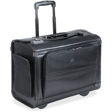 "MANCINI Carrying Case (Roller) for 17"" Notebook - Black - Genuine Leather - Handle - 13"" (330.20 mm) Height x 17"" (431.80 mm) Width x 8.50"" (215.90 mm) Depth"