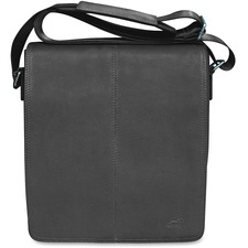 """MANCINI COLOMBIAN Carrying Case (Messenger) Tablet - Black - Colombian Leather - Shoulder Strap - 10.25"""" (260.35 mm) Height x 12"""" (304.80 mm) Width x 3"""" (76.20 mm) Depth"""