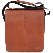 """MANCINI COLOMBIAN Carrying Case (Messenger) Tablet - Cognac - Colombian Leather - Shoulder Strap - 10.25"""" (260.35 mm) Height x 12"""" (304.80 mm) Width x 3"""" (76.20 mm) Depth - 1 Pack"""