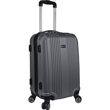 "MANCINI Santa Barbara Carrying Case (Carry On) Luggage, Travel Essential - Black - Damage Resistant - Acrylonitrile Butadiene Styrene (ABS) - Telescoping Handle, Handle - 20.50"" (520.70 mm) Height x 13"" (330.20 mm) Width x 9.50"" (241.30 mm) Depth"