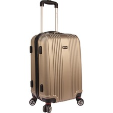 "MANCINI Santa Barbara Carrying Case (Carry On) Luggage, Travel Essential - Champagne - Damage Resistant - Acrylonitrile Butadiene Styrene (ABS) - Telescoping Handle, Handle - 20.50"" (520.70 mm) Height x 13"" (330.20 mm) Width x 9.50"" (241.30 mm) Depth"