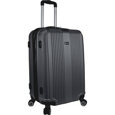 "MANCINI Santa Barbara Carrying Case (Roller) Luggage, Travel Essential - Black - Damage Resistant, Impact Resistance - Acrylonitrile Butadiene Styrene (ABS) - Handle, Telescoping Handle - 24"" (609.60 mm) Height x 16"" (406.40 mm) Width x 11.50"" (292.10 mm) Depth"