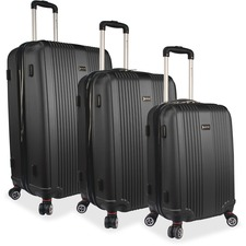 "MANCINI Santa Barbara Carrying Case (Roller) Luggage, Travel Essential - Black - Damage Resistant, Impact Resistant Handle - Acrylonitrile Butadiene Styrene (ABS) - Handle, Telescoping Handle - 3 x Pieces per Set - 13.40"" (340.36 mm) Height x 28"" (711.20 mm) Width x 19"" (482.60 mm) Depth - 3 Pack"
