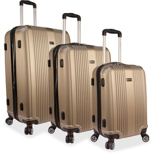 "MANCINI Santa Barbara Carrying Case (Roller) Luggage, Travel Essential - Champagne - Damage Resistant, Impact Resistant Handle - Acrylonitrile Butadiene Styrene (ABS) - Handle, Telescoping Handle - 3 x Pieces per Set - 13.40"" (340.36 mm) Height x 28"" (711"