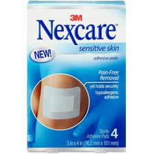 Nexcare Sensitive Skin Adhesive Pads - 4/Pack - Blue