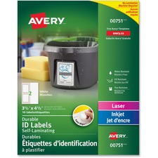 """Avery® Easy Align(R) Self-Laminating ID Labels, Permanent Adhesive, 3-1/2"""" x 4-1/2"""" , 10 Labels (00751) - 3 1/2"""" Width x 4 1/2"""" Length - Permanent Adhesive - Rectangle - Laser, Inkjet - White - 2 / Sheet - 10 Total Label(s)"""