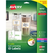 "Avery® Easy Align(R) Self-Laminating ID Labels , Permanent Adhesive, 3-5/16"" x 2-5/16"" , 20 Labels (00752) - Permanent Adhesive - Rectangle - Laser, Inkjet - White - Film - 4 / Sheet - 5 Total Sheets - 20 Total Label(s) - 5"