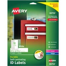 """Avery® Easy Align(R) Self-Laminating ID Labels, 3-1/2"""" x 1-1/32"""" , Pack of 50 (00753) - Permanent Adhesive - Rectangle - Laser, Inkjet - White - Film - 10 / Sheet - 5 Total Sheets - 50 Total Label(s) - 5 / Carton"""
