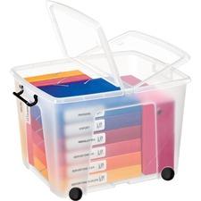 "Greenside Strata Storage Case - Internal Dimensions: 15.75"" (400.05 mm) Width x 20.50"" (520.70 mm) Depth x 14.50"" (368.30 mm) Height - External Dimensions: 18"" Width x 21"" Depth x 15"" Height - 75 L - Butterfly Closure Closure - Heavy Duty - Stackable - Polypropylene, Plastic - Translucent - For Document, Binder - 1 Each"