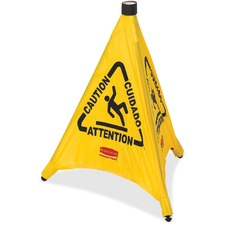 """Rubbermaid Commercial Caution Sign - 1 Each - Wet Floor Symbol Design - Caution Print/Message - 21"""" (533.40 mm) Width x 30"""" (762 mm) Height - Cone Shape - Durable, Collapsible, Foldable, Multilingual - Yellow"""