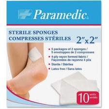 """Paramedic Sterile compresses 2"""" X 2"""" - 2"""" (50.80 mm) x 2"""" (50.80 mm) - 10/Pack - Rayon"""