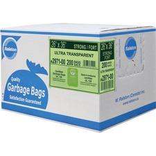 "Ralston Industrial Garbage Bags - 26"" (660.40 mm) Width x 36"" (914.40 mm) Length - Transparent - Plastic - 200/Carton - Garbage, Waste Disposal, Industrial"