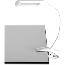 """Safco White 6W Clamp-On LED Task Light with Flexible Arm & 3-Step Dimmer - 13"""" (330.20 mm) Height - 3"""" (76.20 mm) Width - 6 W LED Bulb - 350 Lumens - Rubber, ABS Plastic - Desk Mountable - White - for Reading Room"""