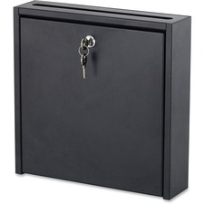 "Safco 12 x 12"" Wall-Mounted Inter-department Mailbox with Lock - External Dimensions: 12"" Width x 12"" Height - 11.04 L - Media Size Supported: Letter - Steel - Black Powder Coat - For Mail, File, Document, Envelope, Key, Memo, Disc/Diskette Storage, CD-ROM - Recycled"